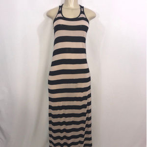 Divided H&M Tan and Black Stripe Maxi Dress Size 6